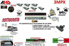 KIT VIDEOSORVEGLIANZA AHD DVR 8 CANALI + 6 TELECAMERE 3MP 48 LED + HARD DISK 1TB