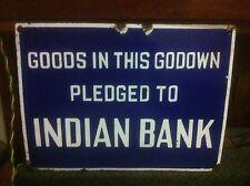 RARE 1930s INDIAN BANK VINTAGE MORTGAGE LOAN GARAGE GODOWN PORCELAIN ENAMEL SIGN
