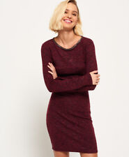 Superdry Womens Welbeck Foil Dress Dragonstail Burgundy UK 10/EU38 RRP £44.99