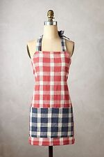 NWT Anthropologie CHRISTMAS PLAID APRON By PEHR Slubby Cotton Pockets Red Navy