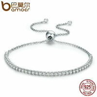 BAMOER Solid S925 Sterling silver Bracelet Chain With Pave Zircon Women Jewelry