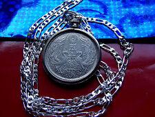 "Taisho Japanese Phoenix Silver Sun Coin Pendant 30"" .925 Sterling Silver Chain"