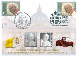 BUSTA FILATELICA CONGIUNTA VATICANO - POLONIA 100° NASCITA G. PAOLO II SILVER