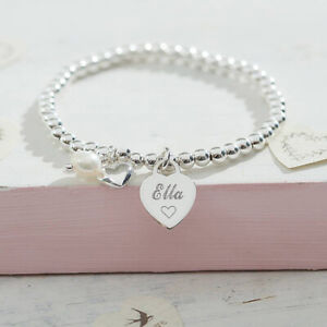 Personalised Jewellery Silver Ball Bracelet Engraved Heart Gift Boxed FREEPOST