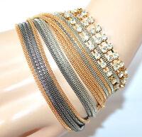 BRACCIALE donna oro argento grigio dorato fili strass cristalli elegante F315