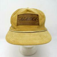 Vintage Alaska Corduroy Rope Hat w/ Leather Patch - Tan Brown Cap Trucker