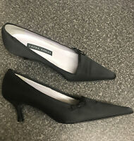Laura Ashley UK 5 / 38 Black Satin Bow slip on heels Pointed Toe Low Heel Shoes