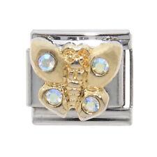 Butterfly with 4 stones Italian Charm - fits 9mm classic Italian Charm bracelets