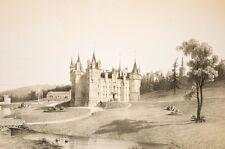 château(Hodé) et clocher de CHANZEAUX, album vendéen 1860 Drake dess.