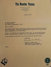 Houston Texans Official Letter Autographed Charles Chuck Rohe JSA Authentic 17B