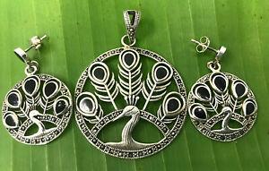 925 sterling silver SWISS MARCASITE BLACK ONYX PEACOCK earrings+pendant WOMEN