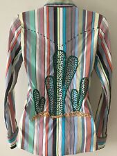 NWT Melanie Apple P Petite Swarovski Cactus Rockabilly Western Snap Shirt Womens