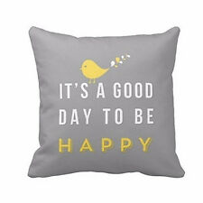 Home Decoration Yellow A Good Day Bird Print Pillow Case Cushion Cover Striking