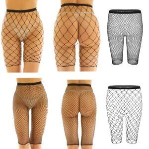 Women's Fishnet Mesh Shorts See Through Slim Fit 1/2 Leggings Cover up Pants