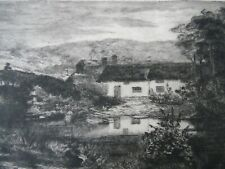 1889 Etching Cottages by Lake and Bridge. Mountain Landscape Indistinctly Signe