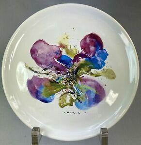 ZAO WOU KI Assiette Orchidée 20 ans de BSN Danone Atelier de Segries Juin 86