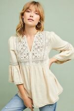 $158 Anthropologie Diamond Bell-Sleeve Blouse Top NWT new size M cream