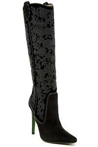 Donald J Pliner Viena Womens Beaded Suede Knee High Tall Heel Boots Black Size 6