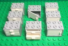 Lego X8 Light Bluish Gray Cupboard Container W/ Doors / Drawers,kitchen Cabinet