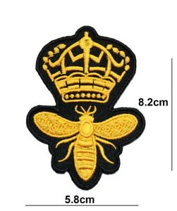 QUEEN BEE PATCH GOLDEN CROWN WASP EMBROIDERED IRON OR SEW ON BADGE LOGO