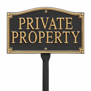 Whitehall Products Private Property Garden Yard Lawn Sign Black Gold Outdoor