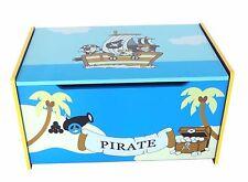 Kiddi Style Children's Pirate Wooden Treasure Chest Toy Box Storage Unit Kids