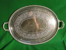 Large Tray Silver Plated, English, Cast Border, Engraved Face , 1870, Marked