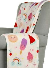 Pink Plush Blanket with Caramel and Rainbow Print 50x70