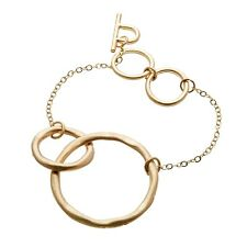 Matt Gold Plated T Bar Bracelet With Chain Linked Connecting Circles - Jamia