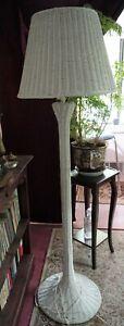 """Vintage Wicker Floor Lamp white Works 64"""""""