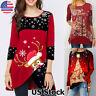 Women Merry Christmas Snowflake Elk Print Long Sleeve Tunic Tops Shirt Blouse US