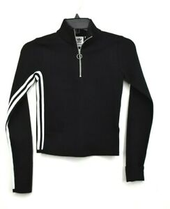 Adidas Womens Black Textured 3 Stripes Track Top Partial Zip Closure Cropped 2XS