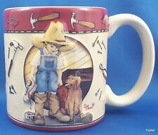 Burton and Burton Daddys Boots Coffee Mug 12 oz Ceramic Tools Little Boy Dog