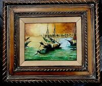 Beautiful Sailboat Oil Painting Great Condition