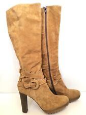 Manas Lea Foscati 40 Boots Tan Suede Buckle Tall Knee High Heel Zip Up
