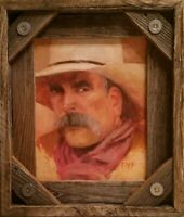 Sam Elliot western art movie stars cowboys oil on panel original portrait framed