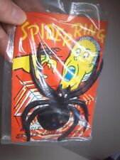 Vintage Unusual Halloween Large Spider Ring Novelty On Header Care NOS Hong Kong