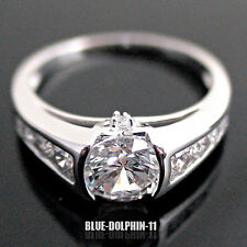 Genuine Real Solid 9k White Gold Engagement Wedding Ring Band Simulated Diamond