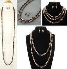 """Extra Long 60"""" Western Copper Color Navajo Style Faux Pearl Necklace Earring Set"""