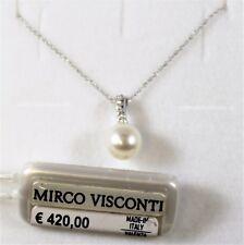 Collier oro bianco 18kt 750/°°° MIRCO VISCONTI con Diamanti e Perla AB899/10C