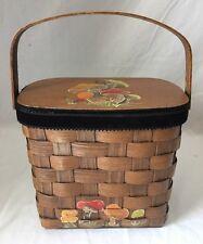 Vintage Basket Handbag Purse w Hand Painted Mushrooms on Wood Lid Caro Nan Style
