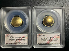 2014-W $5 Baseball HOF PCGS MS70 & PR70 DCAM Al Kaline Sig 1 Of 10 Gold Gloves
