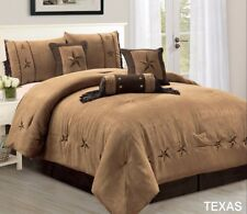 Western Lodge Oversize Comforter Set Taupe Brown Lone Star Micro Suede Queen