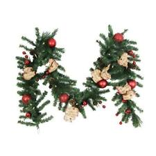 9 ft. Battery Operated Burlap Holiday Artificial Garland with 50 LED Lights