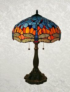 Tiffany Style Blue and Red Handcrafted Glass Dragonfly Table Lamp Shade 16""