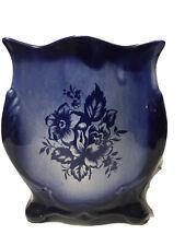 "Empress Ironstone Staffordshire England Glazed Blue Planter Vase 7 1/2"" Tall EUC"