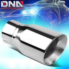 "STAINLESS STEEL DOUBLE WALL ANGLE CUT EXHAUST MUFFLER TIP 3""INLET 4""OD 7.75""L"
