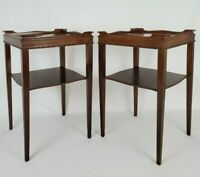Antique Pair Mahogany Wood Two-Tier Superior End Side Tables Vintage 1947
