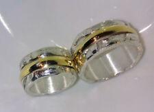 10 mm breit,  Eheringe, grobe Struktur, Gold 585, Silber 999, Diamant, Flamere