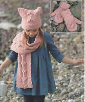 childs girls hat scarf and mittens aran  knitting pattern